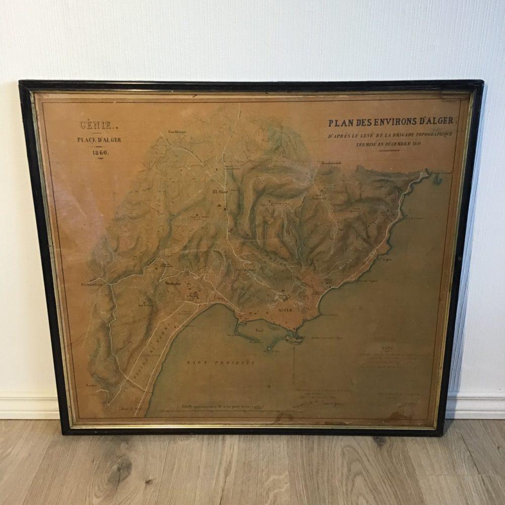 Plan Alger 1860, objet ancien Algérie,les curiosités d'Emilie