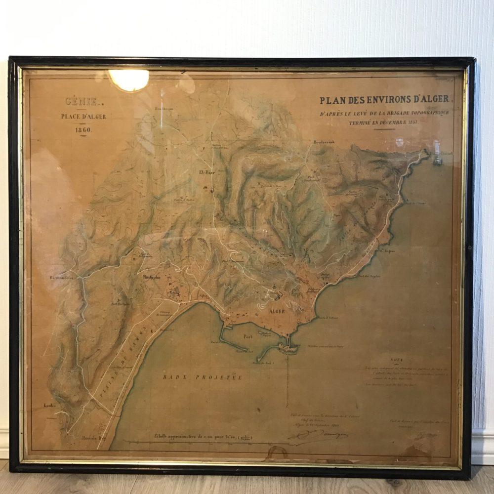 Plan Alger 1860, vue proche, objet ancien Algerie, cartographie, les curiosités d'Emilie