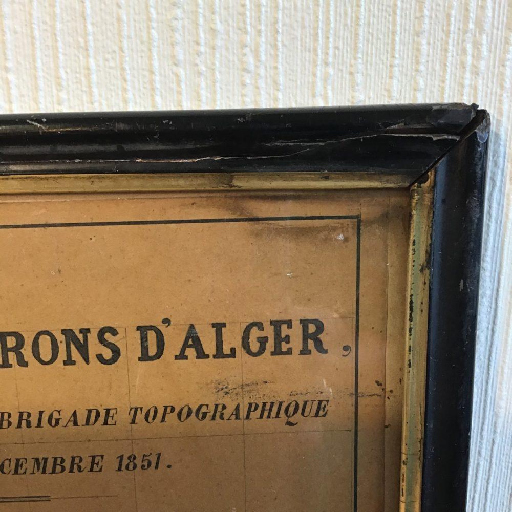 Plan Alger 1860, cartographie Alger, objet ancien Alger, les curiosités d'Emilie