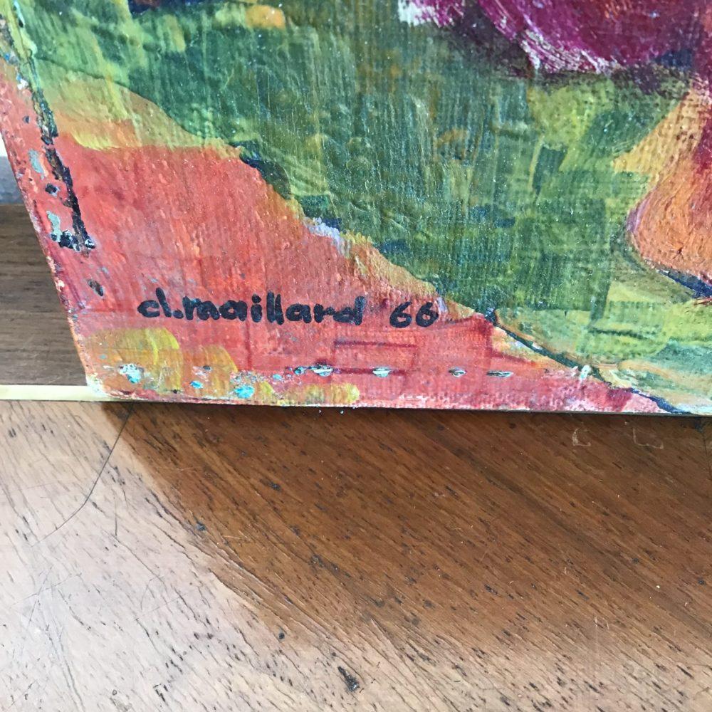 Huile sur toile représentant un nu féminin - signée Claude MAILLARD (1926) www.lescuriositesdemilie.fr 3