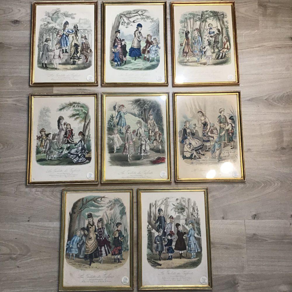 Lot de 8 gravures illustrations costumes des grands magasins Paris fin XIXème - les curiosités d'Emilie 2