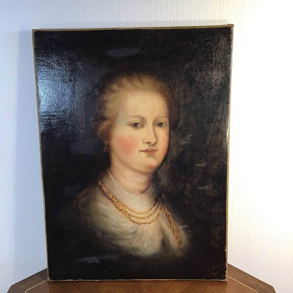 Huile sur toile portrait de femme représentant une femme mondaine XIXème les curiosités d'Emilie