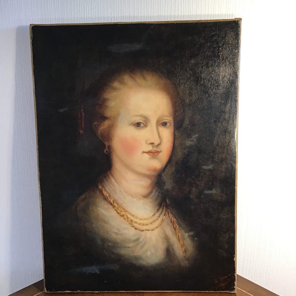 Huile sur toile portrait de femme représentant une femme mondaine XIXème les curiosités d'Emilie 2
