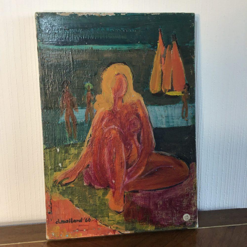 Huile sur toile représentant un nu féminin - signée Claude MAILLARD (1926) www.lescuriositesdemilie.fr