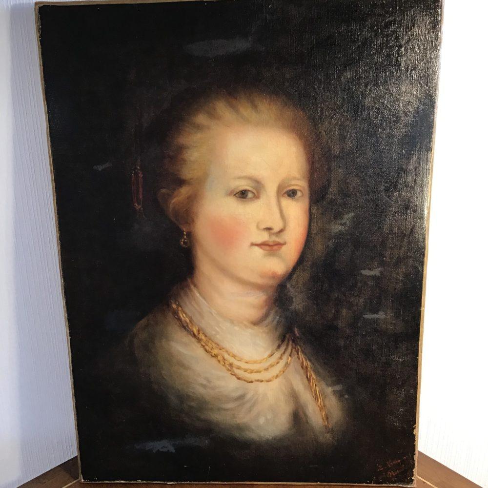 Huile sur toile portrait de femme représentant une femme mondaine XIXème les curiosités d'Emilie 6