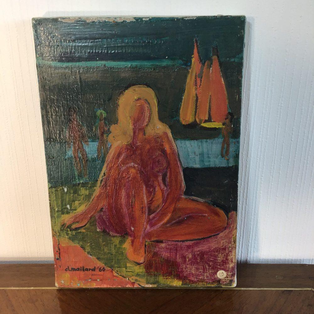 Huile sur toile représentant un nu féminin - signée Claude MAILLARD (1926) www.lescuriositesdemilie.fr 2