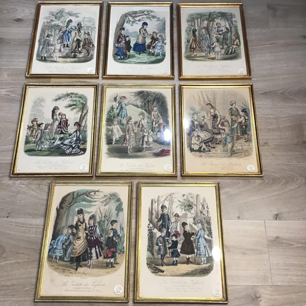 Lot de 8 gravures illustrations costumes des grands magasins Paris fin XIXème - les curiosités d'Emilie