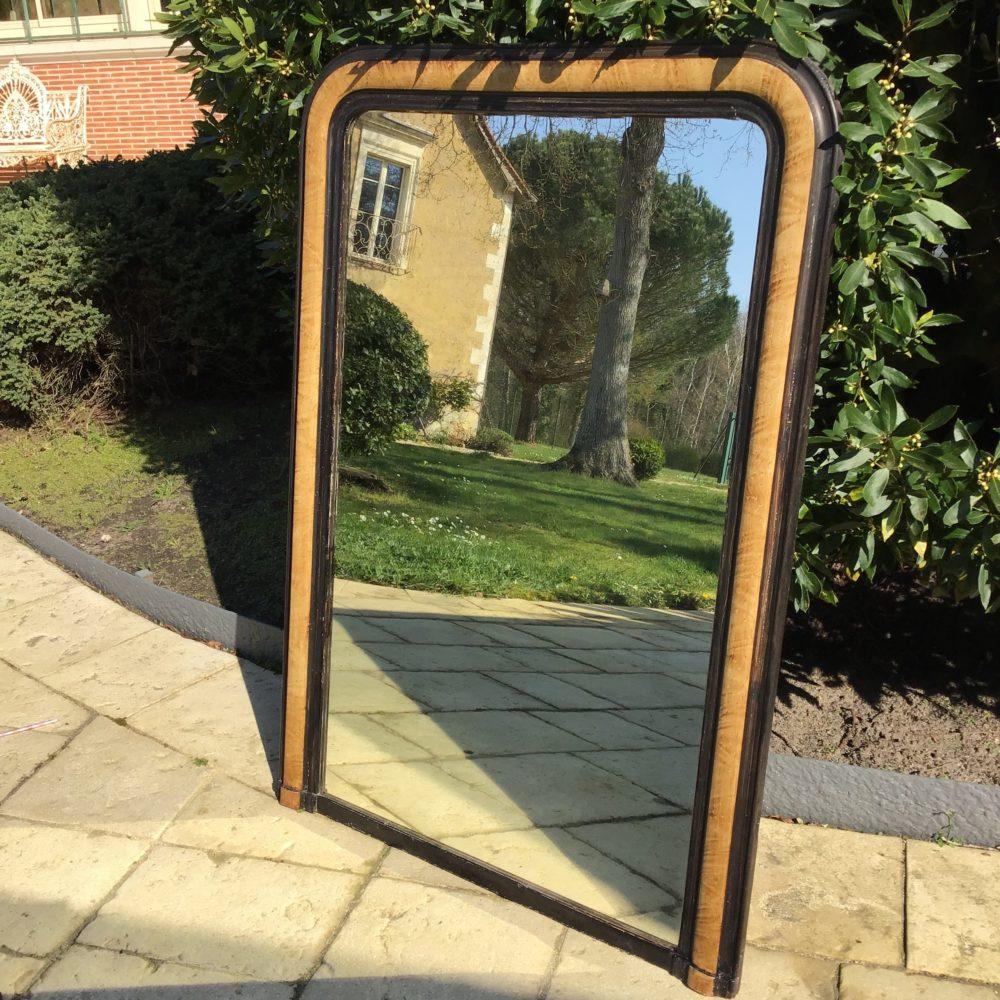 Miroir de cheminée fin XIXème en bois peint imitation trompe l'oeil - à retrouver sur le site www.lescuriositesdemilie.fr 1