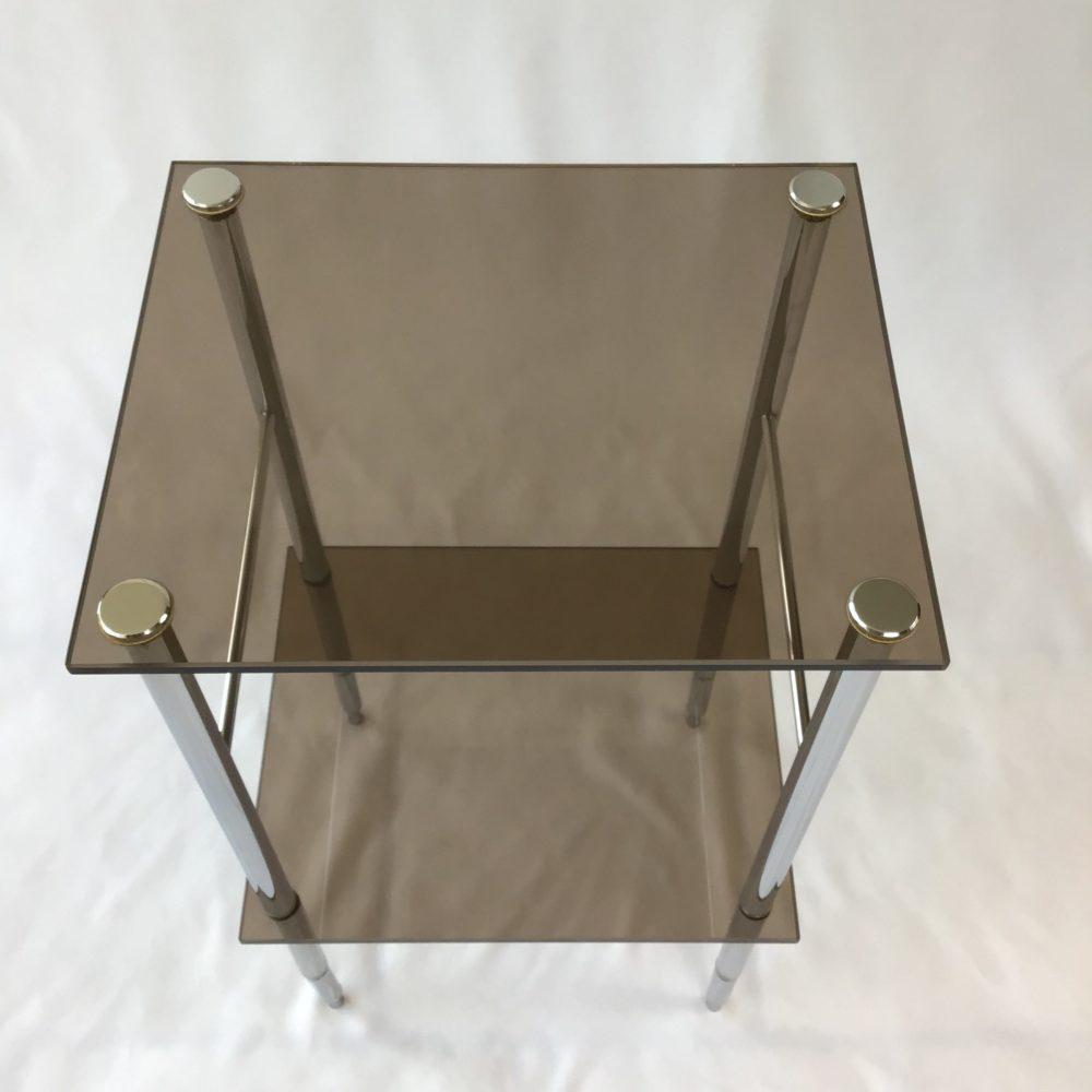 Table d'appoint en métal chromé et verre fumé vintage années 70 2