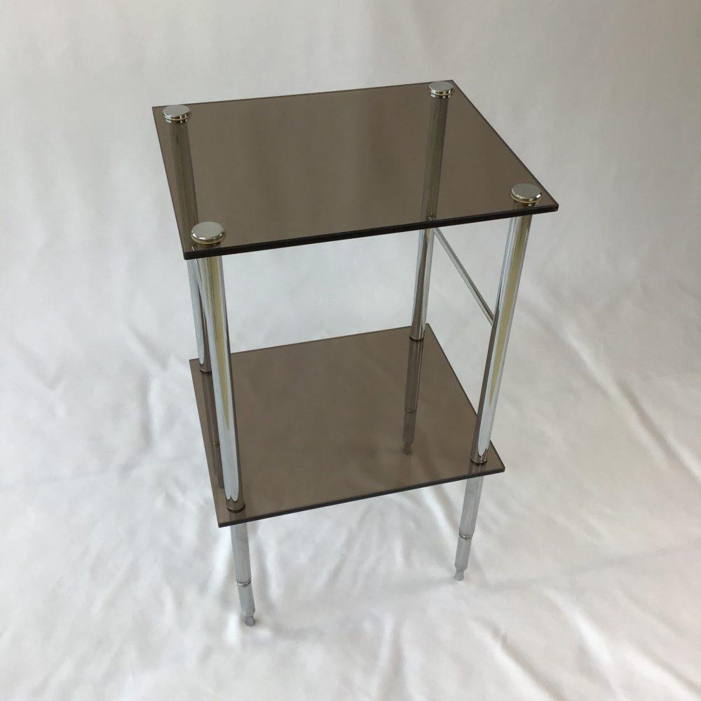 Table d'appoint en métal chromé et verre fumé vintage années 70 1