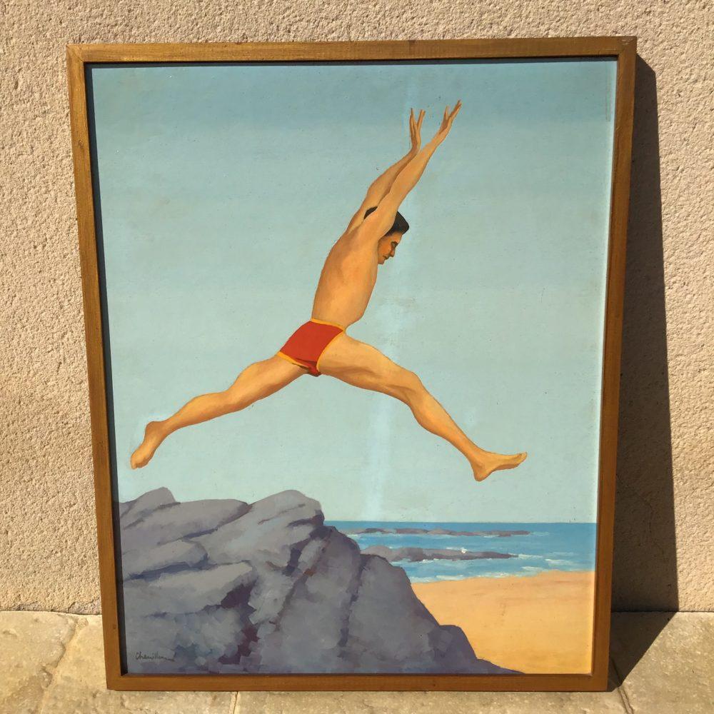 Huile sur panneau de Michel CHENILLEAU homme en maillot daté au revers de août 1947 à retrouver sur le site www.lescuriositesdemilie.fr 1