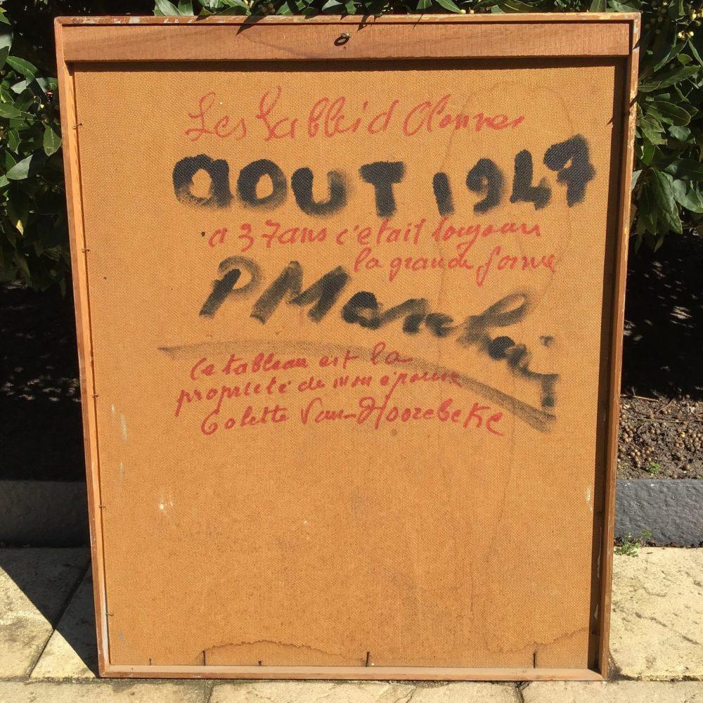 Huile sur panneau de Michel CHENILLEAU homme en maillot daté au revers de août 1947 à retrouver sur le site www.lescuriositesdemilie.fr 3
