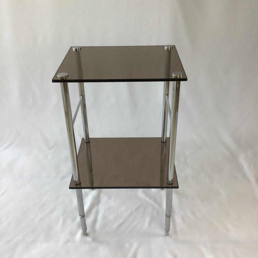 Table d'appoint en métal chromé et verre fumé vintage années 70