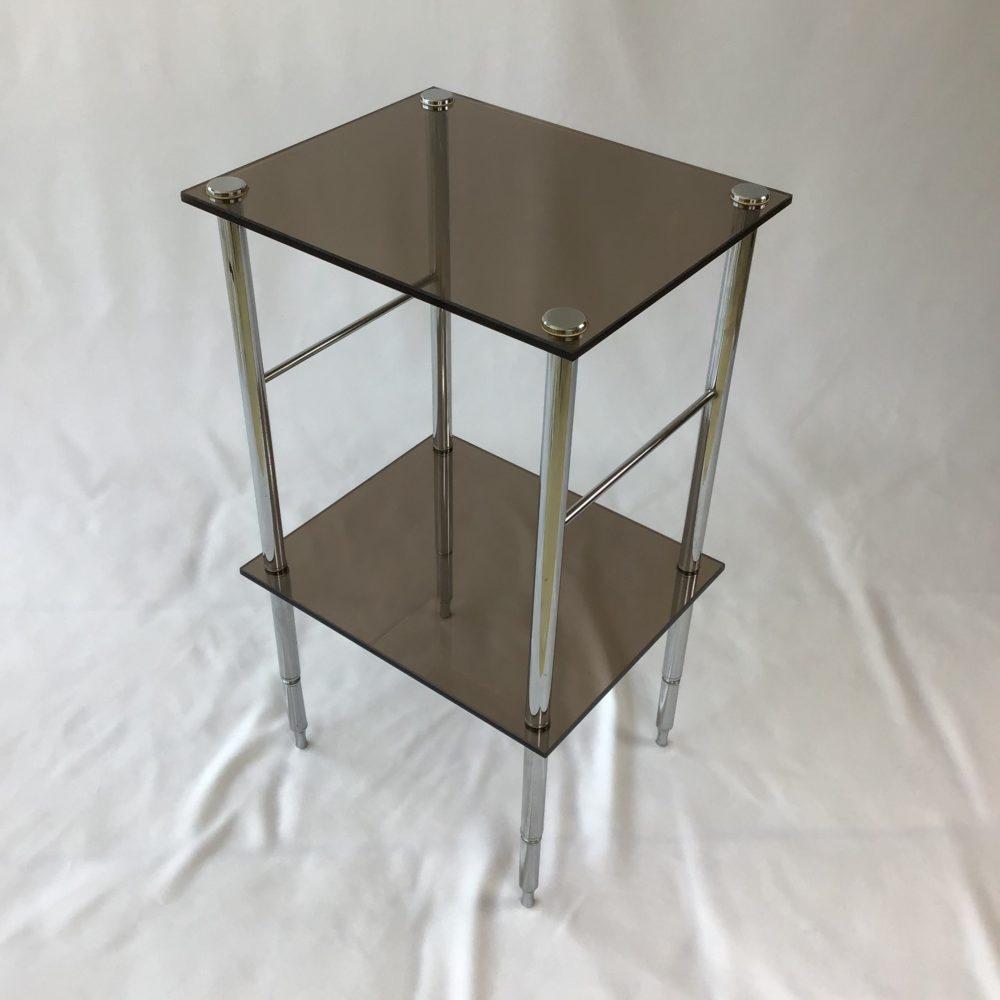 Table d'appoint en métal chromé et verre fumé vintage années 70 4